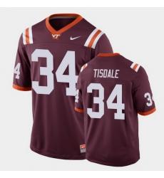 Men Virginia Tech Hokies Alan Tisdale Replica Maroon Football Game Jersey
