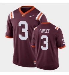 Men Virginia Tech Hokies Caleb Farley Replica Maroon Football Game Jersey