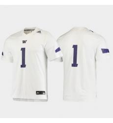 Men Washington Huskies 1 White Replica Football Jersey