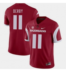 Men Arkansas Razorbacks A.J. Derby Cardinal College Football 2018 Game Jersey