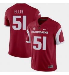 Men Arkansas Razorbacks Brooks Ellis Cardinal College Football 2018 Game Jersey