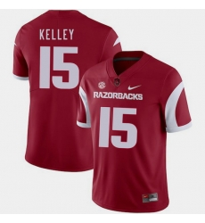 Men Arkansas Razorbacks Cole Kelley Cardinal College Football 2018 Game Jersey