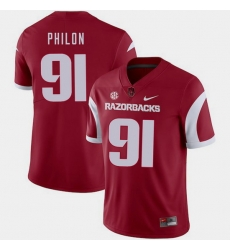 Men Arkansas Razorbacks Darius Philon Cardinal College Football 2018 Game Jersey