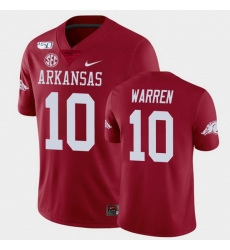 Men Arkansas Razorbacks De'Vion Warren College Football Cardinal Game Jersey