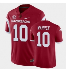 Men Arkansas Razorbacks De'Vion Warren College Football Cardinal Playoff Game Jersey