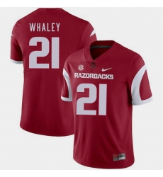 Men Arkansas Razorbacks Devwah Whaley Cardinal College Football 2018 Game Jersey