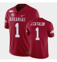 Men Arkansas Razorbacks Jalen Catalon College Football Cardinal Game Jersey