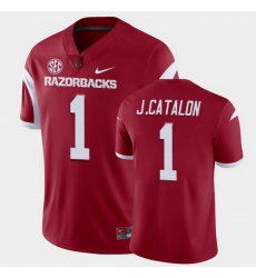 Men Arkansas Razorbacks Jalen Catalon College Football Cardinal Playoff Game Jersey