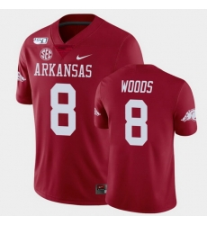 Men Arkansas Razorbacks Mike Woods College Football Cardinal Game Jersey