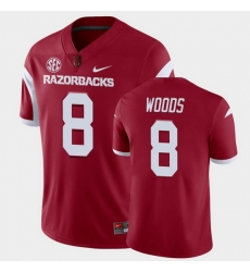 Men Arkansas Razorbacks Mike Woods College Football Cardinal Playoff Game Jersey