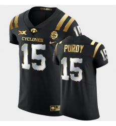 Men Iowa State Cyclones Brock Purdy 2021 Fiesta Bowl Black Golden Edition Jersey