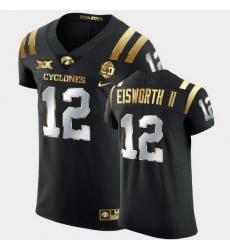 Men Iowa State Cyclones Greg Eisworth Ii 2021 Fiesta Bowl Black Golden Edition Jersey