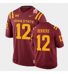 Men Iowa State Cyclones Hunter Dekkers 2021 Fiesta Bowl Cardinal College Football Jersey 0A