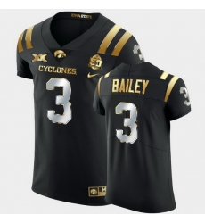 Men Iowa State Cyclones Jaquan Bailey 2021 Fiesta Bowl Black Golden Edition Jersey