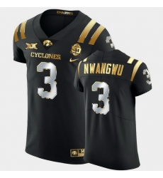 Men Iowa State Cyclones Kene Nwangwu 2021 Fiesta Bowl Black Golden Edition Jersey