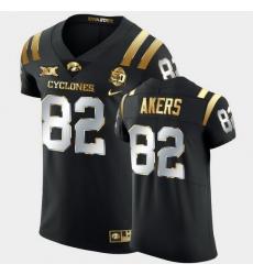 Men Iowa State Cyclones Landen Akers 2021 Fiesta Bowl Black Golden Edition Jersey