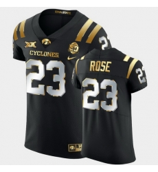 Men Iowa State Cyclones Mike Rose 2021 Fiesta Bowl Black Golden Edition Jersey