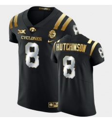 Men Iowa State Cyclones Xavier Hutchinson 2021 Fiesta Bowl Black Golden Edition Jersey
