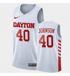 Men Dayton Flyers Chase Johnson College Basketball White Jersey