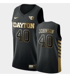 Men Dayton Flyers Chase Johnson Golden Edition Black Limited Jersey