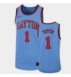 Men Dayton Flyers Obi Toppin College Basketball Light Blue Replica Jersey