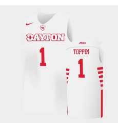 Men Dayton Flyers Obi Toppin College Basketball White Jersey 0A