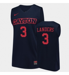 Men Dayton Flyers Trey Landers College Basketball Navy Jersey 0A