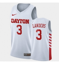 Men Dayton Flyers Trey Landers College Basketball White Jersey