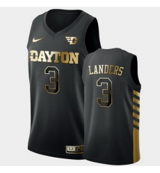 Men Dayton Flyers Trey Landers Golden Edition Black Limited Jersey