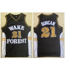 Men Wake Forest Demon Deacons 21 Tim Duncan Black College Basketball Jersey