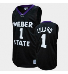 Men Weber State Wildcats Damian Lillard College Basketball Black Jersey