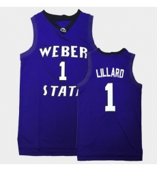 Men Weber State Wildcats Damian Lillard College Basketball Purple Jersey
