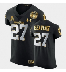 Men Cincinnati Bearcats Darrian Beavers 2021 Peach Bowl Black Golden Edition Jersey