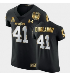 Men Cincinnati Bearcats Joel Dublanko 2021 Peach Bowl Black Golden Edition Jersey
