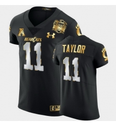 Men Cincinnati Bearcats Leonard Taylor 2021 Peach Bowl Black Golden Edition Jersey