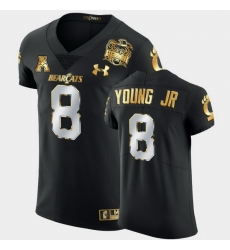 Men Cincinnati Bearcats Michael Young Jr. 2021 Peach Bowl Black Golden Edition Jersey