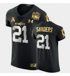 Men Cincinnati Bearcats Myjai Sanders 2021 Peach Bowl Black Golden Edition Jersey