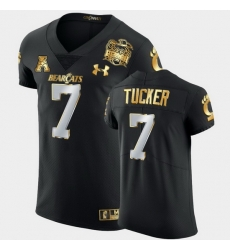 Men Cincinnati Bearcats Tre Tucker 2021 Peach Bowl Black Golden Edition Jersey