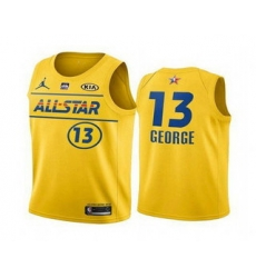Men 2021 All Star 13 Paul George Yellow Western Conference Stitched NBA Jersey