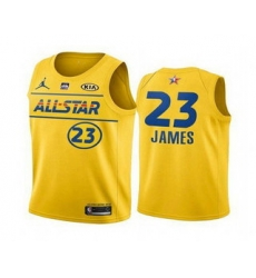Men 2021 All Star 23 LeBron James Yellow Western Conference Stitched NBA Jersey