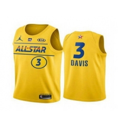 Men 2021 All Star 3 Anthony Davis Yellow Western Conference Stitched NBA Jersey