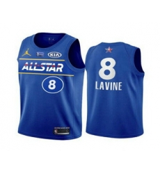 Men 2021 All Star Chicago Bulls 8 Zach LaVine Blue Eastern Conference Stitched NBA Jersey