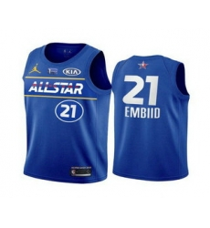 Men 2021 All Star Philadelphia 76ers 21 Joel Embiid Blue Eastern Conference Stitched NBA Jersey