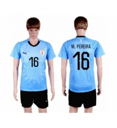 Uruguay #16 M.Pereira Home Soccer Country Jersey