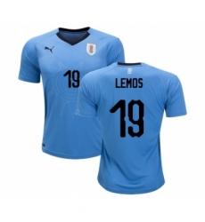 Uruguay #19 Lemos Home Soccer Country Jersey