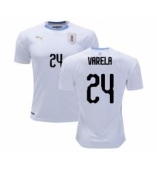 Uruguay #24 Varela Away Soccer Country Jersey