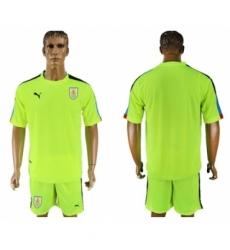 Uruguay Blank Shiny Green Goalkeeper Soccer Country Jersey