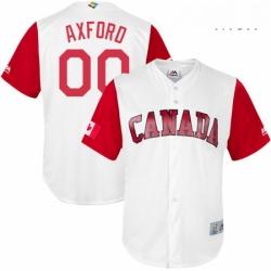 Mens Canada Baseball Majestic 00 John Axford White 2017 World Baseball Classic Replica Team Jersey