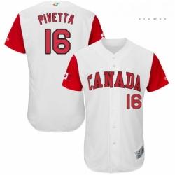 Mens Canada Baseball Majestic 16 Nick Pivetta White 2017 World Baseball Classic Authentic Team Jersey