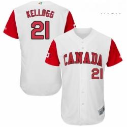 Mens Canada Baseball Majestic 21 Ryan Kellogg White 2017 World Baseball Classic Authentic Team Jersey